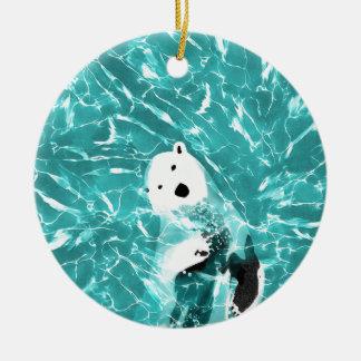 Ornamento De Cerâmica Urso polar brincalhão no design da água de