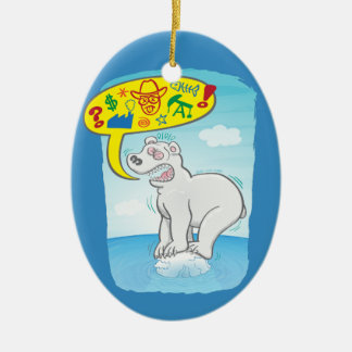 Ornamento De Cerâmica Urso polar que diz as palavras más que estão no