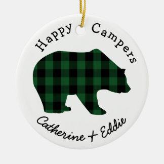 Ornamento De Cerâmica Urso verde da verificação do búfalo dos nomes dos