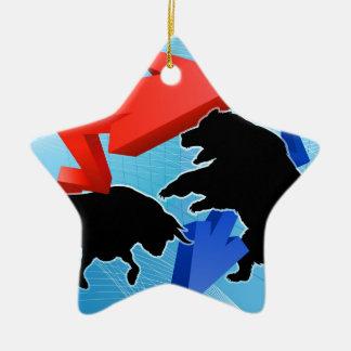 Ornamento De Cerâmica Ursos contra o conceito do mercado de valores de