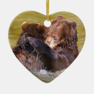 Ornamento De Cerâmica Ursos na água