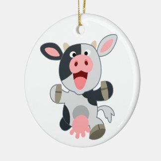 Ornamento De Cerâmica Vaca alegre bonito dos desenhos animados
