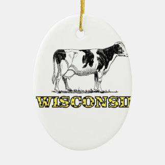 Ornamento De Cerâmica Vaca de leiteria de Wisconsin