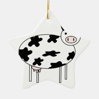 Ornamento De Cerâmica Vaca ilustrada