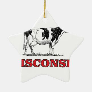 Ornamento De Cerâmica vaca vermelha de Wisconsin