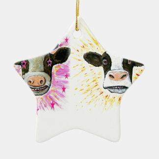 Ornamento De Cerâmica Vacas loucas