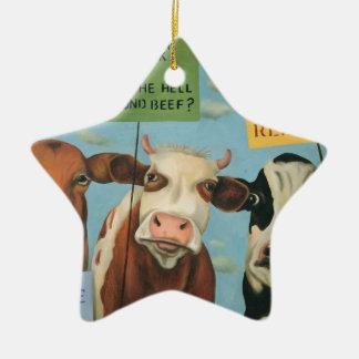 Ornamento De Cerâmica Vacas na greve