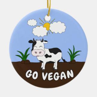 Ornamento De Cerâmica Vai o Vegan - vaca bonito