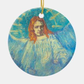 Ornamento De Cerâmica Van Gogh; Meia figura de um anjo, arte do vintage