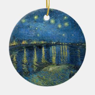 Ornamento De Cerâmica Van Gogh: Noite estrelado sobre o Rhone