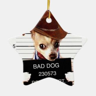 Ornamento De Cerâmica vaqueiro da chihuahua - cão do xerife