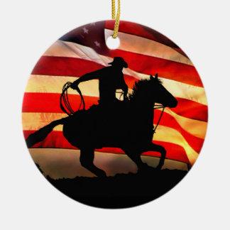 Ornamento De Cerâmica Vaqueiro e Natal Ornamemt da bandeira americana