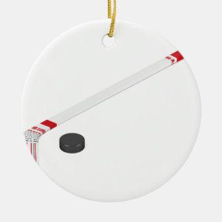 Ornamento De Cerâmica Vara e disco de hóquei em gelo
