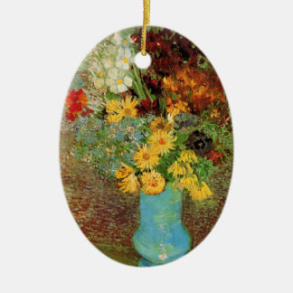 Ornamento De Cerâmica Vaso de Van Gogh com belas artes das margaridas e