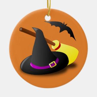 Ornamento De Cerâmica Vassoura e bastão do chapéu da bruxa do Dia das