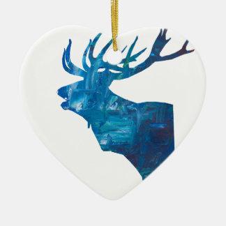 Ornamento De Cerâmica veado principal dos cervos no azul