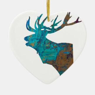 Ornamento De Cerâmica veado principal dos cervos nos turqouis e no