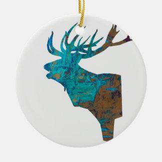 Ornamento De Cerâmica veado principal dos cervos nos turquois