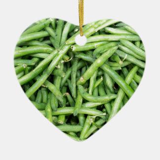 Ornamento De Cerâmica Vegetariano verde orgânico Vegitarian dos feijões