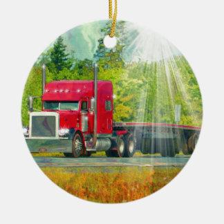 Ornamento De Cerâmica Veículo de transporte pesado do caminhão vermelho