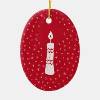 Ornamento De Cerâmica Vela do Natal com estrelas sparkling