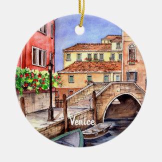 Ornamento De Cerâmica Veneza - aguarela da caneta & da lavagem