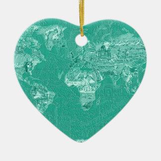Ornamento De Cerâmica verde 1 do mapa do mundo
