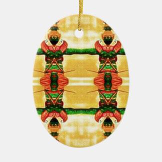 Ornamento De Cerâmica Verde amarelo da guarda psicadélico