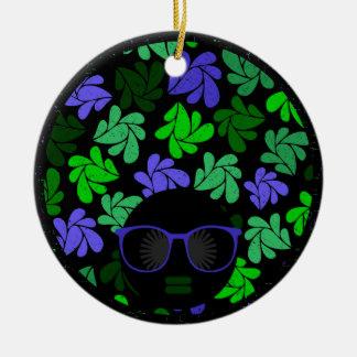 Ornamento De Cerâmica Verde & azul da diva do Afro