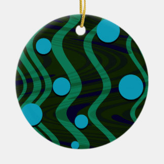 Ornamento De Cerâmica Verde azul marmoreado da onda do ponto