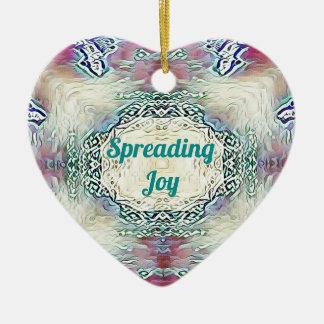 Ornamento De Cerâmica Verde chique 'Joy de espalhamento da época
