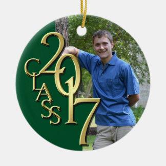 Ornamento De Cerâmica Verde da classe 2017 e foto graduada do ouro