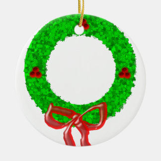 Ornamento De Cerâmica Verde da grinalda do Natal