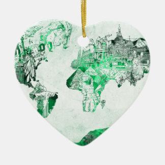 Ornamento De Cerâmica verde do mapa do mundo