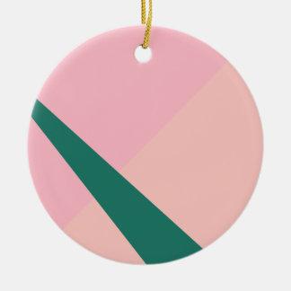 Ornamento De Cerâmica Verde geométrico elegante do pêssego do rosa