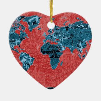 Ornamento De Cerâmica vermelho 2 do mapa do mundo