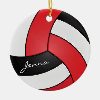 Ornamento De Cerâmica Vermelho, branco & preto personalize o voleibol