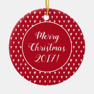 Ornamento De Cerâmica Vermelho com o Feliz Natal do teste padrão dos