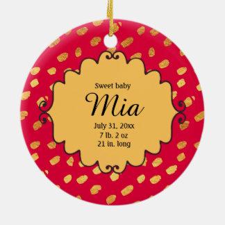 Ornamento De Cerâmica Vermelho da foto e aniversário personalizados do