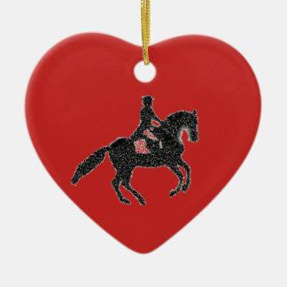 Ornamento De Cerâmica Vermelho do coração do adestramento - design do
