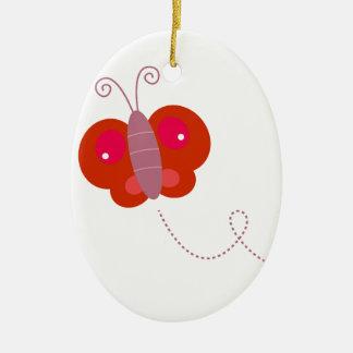 Ornamento De Cerâmica Vermelho do design da mosca da manteiga no branco