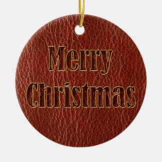 Ornamento De Cerâmica Vermelho do Natal do Couro-Olhar