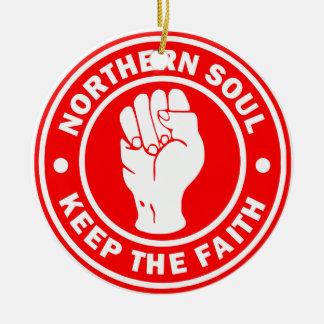 Ornamento De Cerâmica vermelho do norte do logotipo da alma