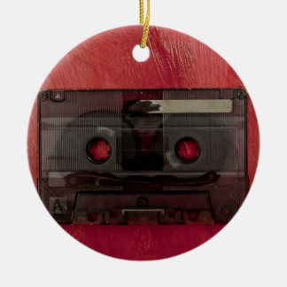 Ornamento De Cerâmica Vermelho do vintage da música da cassete de banda