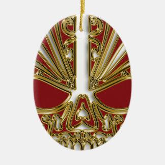 Ornamento De Cerâmica Vermelho e crânio do crânio do açúcar do ouro
