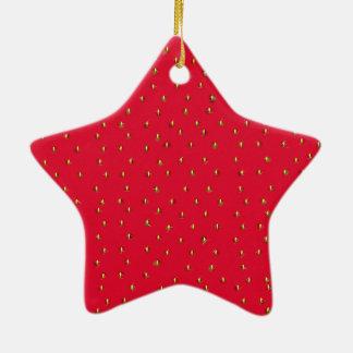 Ornamento De Cerâmica Vermelho engraçado do fundo da morango