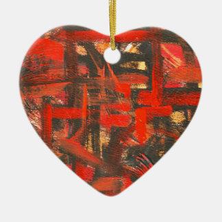 Ornamento De Cerâmica Vermelho-Mão rústica Brushstrokes abstratos