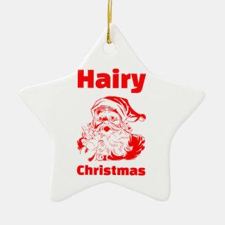 Ornamento De Cerâmica Vermelho peludo Papai Noel do Natal