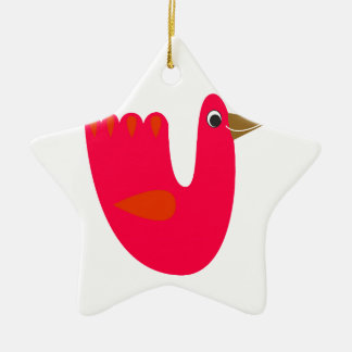 Ornamento De Cerâmica Vermelho pequeno bonito do pássaro no branco