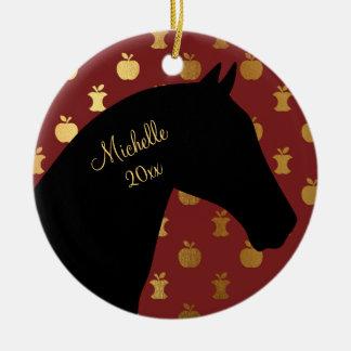Ornamento De Cerâmica Vermelho personalizado do ~ do cavalo da silhueta,